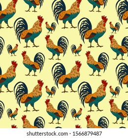 seamless pattern with roosters in bright colors, farm birds