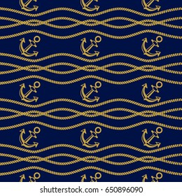 Seamless pattern with ropes and anchors. Dark blue and golden ongoing background of marine theme.