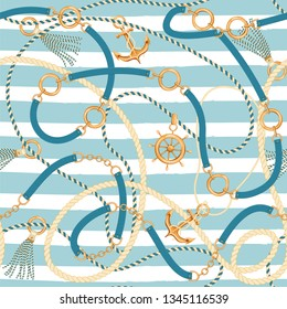 Seamless pattern with ropes, belts, tassels, ship wheel and anchor. Marine striped background. Trendy print for textile, wrapping paper, scarf, web background. Vector illustration.