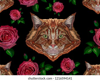 Seamless pattern with rose and cat stylized texture of embroidery, imitation of ornamental satin stitch. Vector pattern for printing on fabric, clothes, shawl, headscarf, dress.