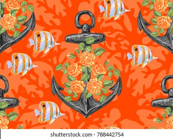 Seamless pattern with rose flower, fish, anchor. Ocean background. Vacation, summer. Sea life texture. Perfect for wallpaper, pattern fill, web page background, surface textures, textile