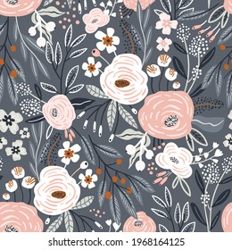 Seamless pattern with rose flowers, berries and leaves. Creative high detailed floral pattern. Great for fabric, textile Vector Illustration