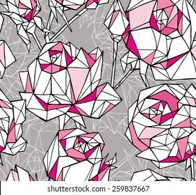 Seamless Pattern Rose Geometric Gray & Pink
