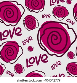 Seamless pattern. Rose and love text on a gray background. For printing on packaging, bags, cups, laptop, furniture, etc. Vector.