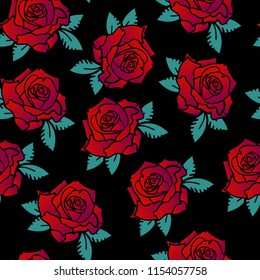 Seamless pattern with rose on black background. For textile, fabric, clothes, wrapping paper, girls, web, wallpaper