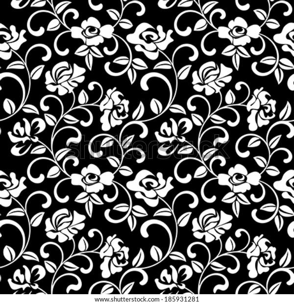 Seamless pattern - rose on a black background