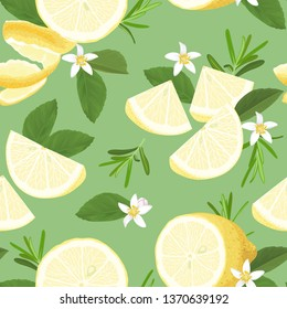 Seamless pattern with rosemary leaves and lemon slice on background template. Vector set of herbal element for advertising, packaging design.