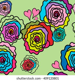 Seamless pattern. Roses of different colors on a very soft green background. For printing on packaging, bags, fabric, cups, laptop, furniture, etc. Vector.