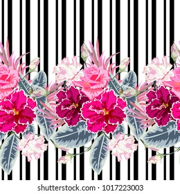 Seamless pattern with roses, eustoma and violets on striped background. Flower background for textile, cover, wallpaper, gift packaging, printing.Romantic design for calico, silk. Horizontal border.