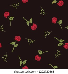Seamless pattern with roses. Exotic fashion trend and textile design. Repeated vector illustration. Vintage floral background.