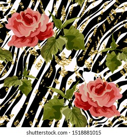 Seamless pattern with roses flowers and stylized zebra stripes.