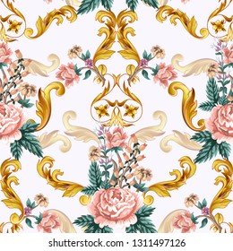 Seamless pattern with roses and gold baroque elements.