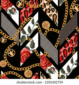 Seamless pattern with roses, leopard skin, dots and chains.