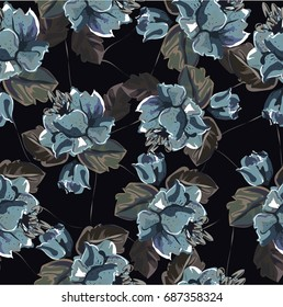 Seamless pattern with roses on black background