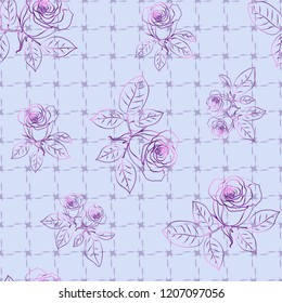 Seamless pattern with roses on plaid background. Vector illustration