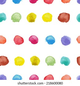 Seamless pattern of round colorful watercolor spots for your design.