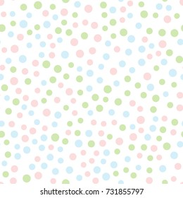 Seamless pattern with round dots. Pink, blue, green circles scattered on white background. Drawn by hand. Pastel colors. Vector illustration.