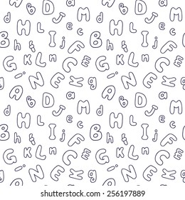 Seamless pattern with rounded alphabet letters