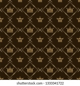 Seamless pattern with royal crowns for your design, vector image
