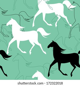 Seamless pattern with running horses. Vector illustration.