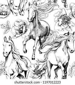 Seamless pattern. Running White Horses and Peony, Anemone flowers. Textile composition, hand drawn style print. Vector black and white illustration.