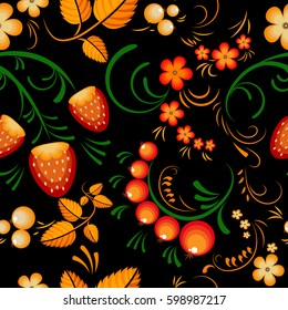 Seamless pattern russian style khokhloma painting, traditional floral ornament on the black background