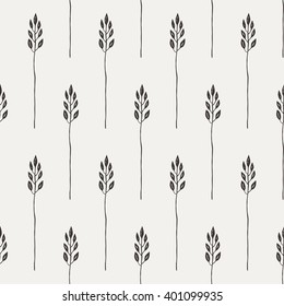 Seamless pattern in a rustic style with wildflowers, plants, flowers.