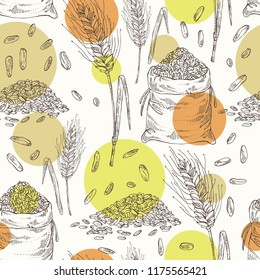 Seamless pattern with rye: ears, bag of grain and rye grain. Vector hand drawn illustration