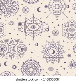 Seamless Pattern with Sacred Geometry Forms - Eye, Moon and Sun. Vector illustration. Geometric Spirograph Lines. Alchemy Symbols, Occult and Mystic Signs on White Background.