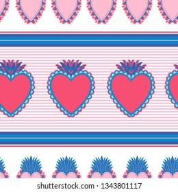 Seamless pattern Sacred mexican spirit color. Soul symbol religion. Decoration emblem holy heart.Sacramental religion.Vector illustration.