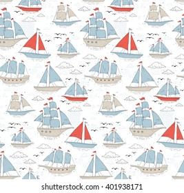 Seamless pattern with sailboats and clouds
