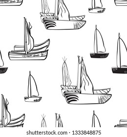 seamless pattern of sailboats in the sea