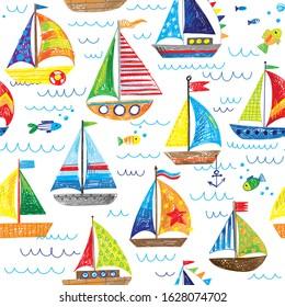 seamless pattern sailing boats ocean waves