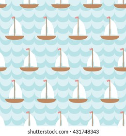 Seamless pattern with sailing ship in the sea. For cards, invitations, travel or baby shower albums, wallpapers, backgrounds and scrapbooks. Art vector Illustration.