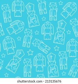 Seamless pattern with Saint Nicholas.