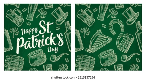 Seamless pattern Saint Patrick s Day. Top gentleman hat, pot of gold coins, pipe, beer glass, lyre, horseshoe, clover, barrel. Vector vintage white engraved illustration isolated green background.