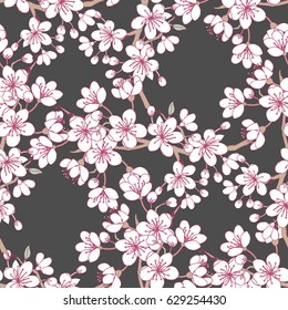 Seamless pattern  with sakura and clouds. Hand drawn spring blossom trees. Vector illustration with cherry blossoms