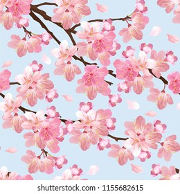 Seamless pattern of sakura flowers background template. Vector set of blooming floral for holiday invitations, greeting card and fashion design.