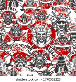 Seamless pattern with samurai masks in monochrome style. Design element for poster, card, banner. Vector illustration