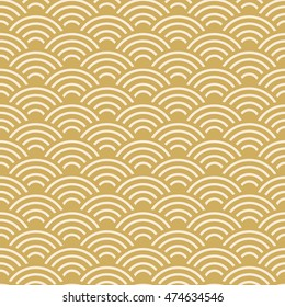 seamless pattern scales simple Nature abstract texture with japanese wave circle pastel colors orange beige mustard background. Textile print, web page fill. Vector