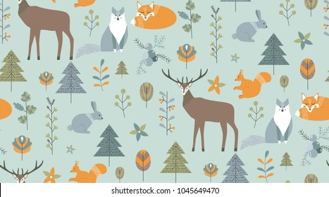 Seamless pattern in scandinavian style. Cartoon nordic animals and plants. Vector illustartion for your design.