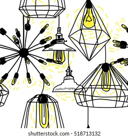 Seamless pattern in Scandinavian style. Ceiling lamps and lamp. Home comfort. Electricity.