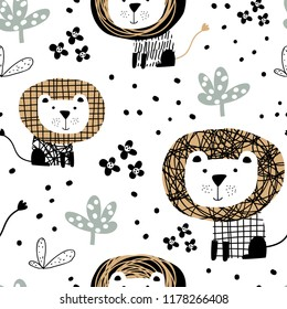 Seamless pattern in scandinavian style with cute lion. Perfect for kids apparel, fabric, textile, nursery decoration, wrapping paper. Trendy scandinavian vector pattern.