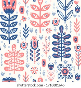 Seamless pattern in scandinavian style with horse, tree, flowers, leaves, branches. Folk art. Vector nordic background with floral ornaments. Home decorations.