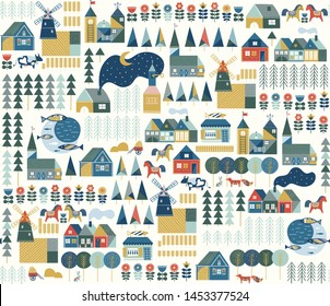 Seamless pattern with scandinavian village in pastel colors. Hygge cozy house inspired by scandinavian folk art. Pattern with colorful buildings on light background. Illustration with nordic village.