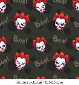 Seamless pattern with scary evil clown faces on the black background. Vector texture.
