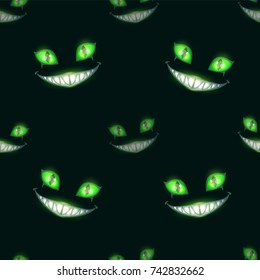 Seamless pattern with scary monster faces on black background. Green eyes and big evil smile.
