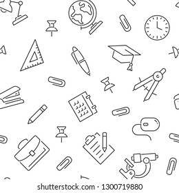 Seamless pattern with school. Black and white thin line icons
