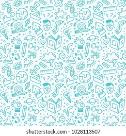 Seamless pattern with school elements.