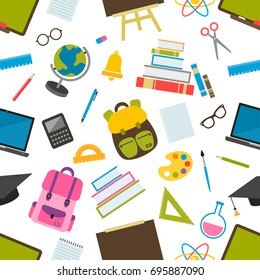 seamless pattern with school elements